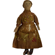 SOLD Wonderful 19th Century Cloth Doll with Embroidered Face