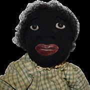 SOLD Stockinette Black Cloth Folk Art Doll