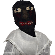 Vintage Folk Art Black Cloth Doll with Hooked Wool Face
