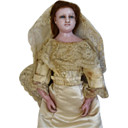 SALE PENDING English Poured Wax Doll Lady in Wedding Gown