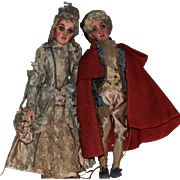 Early Continental Wooden Court Dolls in Original Clothing