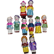 Set of 10 Japanese All Bisque Dolls in the Original Box
