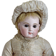 Stunning Early Jumeau EJ French Bisque Head Doll in Couture Gown