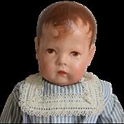 Kathe Kruse German Cloth Doll I in Blue Stripe Dress
