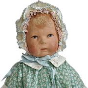 Kathe Kruse German Cloth Doll I in Green Print Dress