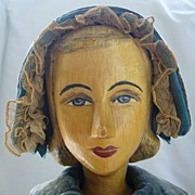 SALE Large Helen Bullard Artist Doll with Carved Wooden Head