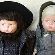 All Original Composition Effanbee Pennsylvania Dutch Grumpy Doll Pair