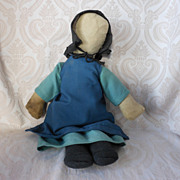 SALE PENDING Amish Type Cloth Doll in Green Dress with Blue Apron