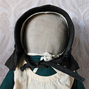 SALE PENDING Amish Type Cloth Doll in Green Dress with White Apron