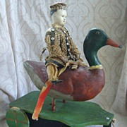 SALE All Original Wonderful Early German Papier Mache Doll and Duck Pull Toy