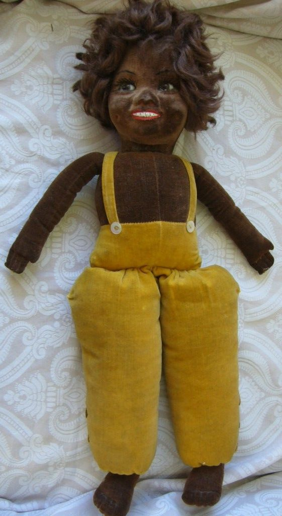 Norah Wellings Black Cloth Character Doll With Glass Eyes