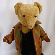 Vintage Teddy Bear in Overalls and Jacket