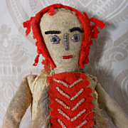 REDUCED Cloth Native American Doll with Felt, Fur, and Beading