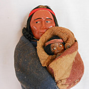 REDUCED Skookum Indian Native American Mother and Baby Composition Doll