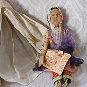 REDUCED All Original Cloth Indian Doll in Burka Veil by Bullock's Dolls from Many Lands