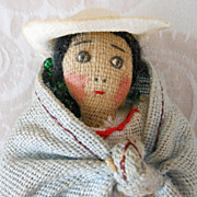 Tiny Vintage Miniature Cloth Doll in Ethnic Costume
