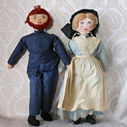 Vintage Hand Made and Painted Cloth Amish Dolls