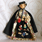 Vintage Folk Art Peddler Wood and Cloth Spool Doll