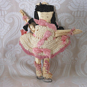 REDUCED Vintage Folk Art Hand Made Oil Cloth Skater Doll