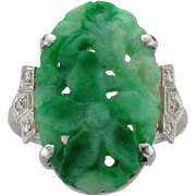 Vintage Birks Carved Jadeite & Diamond Ring