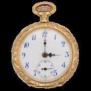 Antique Art Nouveau 14K Gold Lady's Longines Pocket Watch