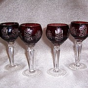 REDUCED Ruby Cut to Clear Cordials, Set of 4