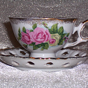 Ucagco Teacup & Saucer with Lovely, Large  Roses