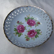 """Lefton China Reticulated Compote """"Rose"""" Pattern"""