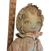 """Very Old Vintage Antique Printed Cloth Doll Printed Clothes Plus She Is Dressed 22 """""""