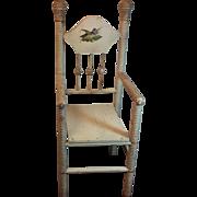 "Vintage 16"" Doll Highchair With Bird Decal Original Patina"