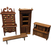 Group of Vintage Miniature Wooden Furniture Probably Shackman