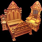 SALE PENDING Vintage Fantastic Furniture Miniature Taiwan MIB Victorian Bedroom Set Signed