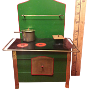 Wonderful Green Toy Vintage Sheet Metal Stove With Utensils & Original Box