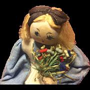 Vintage 5 Inch Italian Cloth Doll Holding Flowers