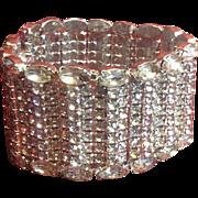 Antique/Vintage Rhinestone Wide Bracelet Clear Stones