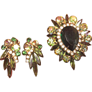 "Antique /Vintage. 2 1/4th"" Long Brooch and Matching Clip Earrings"