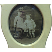 Beautiful Vintage Celluloid Picture Frame With Children Playing With Heubach Coquette
