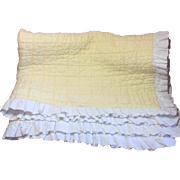 Beautiful Vintage Child's Baby Quilt Buttercup Yellow & White With Ruffles