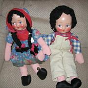 REDUCED Cloth Boy and Girl Rag Dolls Wonderful Pair