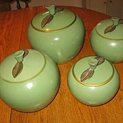REDUCED Retro 1950s Canister Set Green Aluminum Apples with Brass Leaves