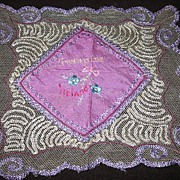 REDUCED Lovely Lavender and Lace Souvenir Hankie from Ireland Childs Silk Hanky