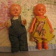 REDUCED Dollhouse Barefoot Farmer and Wife Dolls