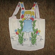 REDUCED Vintage Childs Apron Painted and Embroidered Treasure