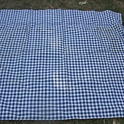 SALE Antique Blue Checked Mattress Cover for Old Rope Bed Mint!