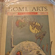 REDUCED Santa and Sleigh Cover on 1930s Home Arts Magazine