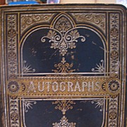 Antique Autograph Album Book with Folk Art Drawing