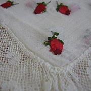 SALE Lovely Vintage Hankie Embroidered Rosebuds and Lace