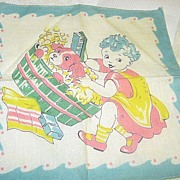 REDUCED Vintage Childs Hankie Wonderful Washing the Dog Hanky
