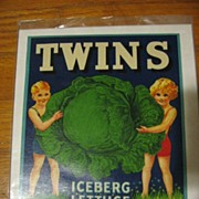 SALE Vintage Twins Label Unusual & Rare!! Lithographed California 1941 Frame It