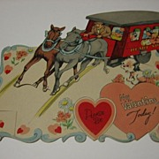 SALE Large Mechanical Vintage Valentine Horse Pulling Trolley or Stagecoach